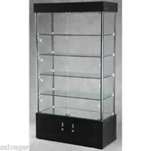 lighted glass display case ebay. Black Bedroom Furniture Sets. Home Design Ideas