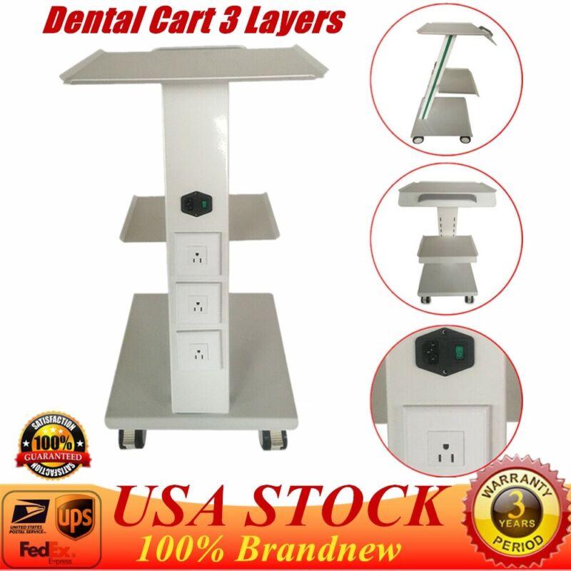 3 Layers Metal Built-in Socket Tool Medical Dental Lab Mobile Cart Trolley UPS