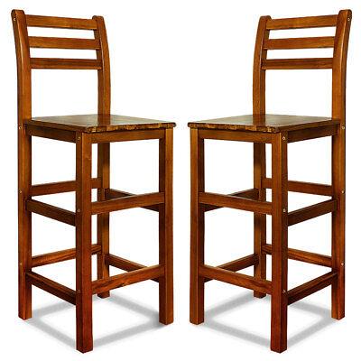 Deuba® Barhocker mit Lehne 2er Set Akazienholz Hocker Tresenstuhl Bar Stuhl Holz