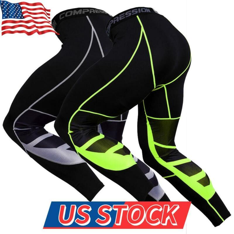 Men Skinny Compression Layer Gym Sports Pants Leggings Tight Running Bottoms Us