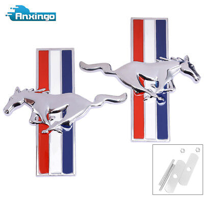 - 2x Chrome Metal Tri bar Running Horse Grille Emblem Badge Screws For Mustang