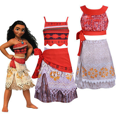 Child Moana Princess Costume Girls Kids Fancy Dress Crop Top and Skirt Outfit - Top Fancy Dress Costumes
