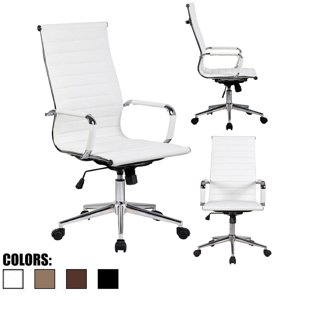 PU Leather Office Chair With Arms Wheels Swivel Tilt Adjusta