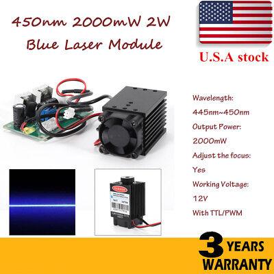 Focusable Pwm Ttl 2w 2000mw 450nm Blue Laser Module Engrave Cutter Engraving