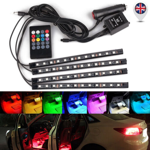 Car Parts - 4x 12LED RGB LED Neon Strip Lights Music Remote Control Car Interior Footwell UK