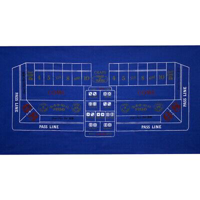 36 x 72 Craps Casino Table Top Felt Layout Mat - Blue