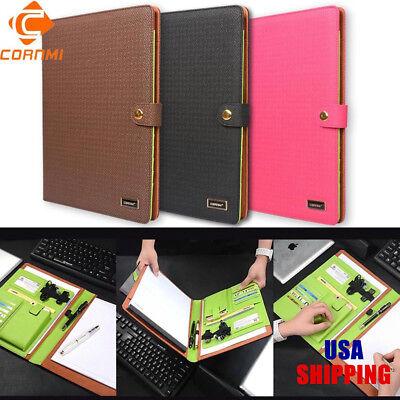Multifunction File Fold Leather Work Notebook Folder Letter Pen Phone Organizer