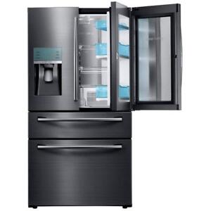 FINANCE A BLACK STAINLESS STEEL 4 DOOR FRIDGE--LOTS OF SPACE IN THIS ONE!
