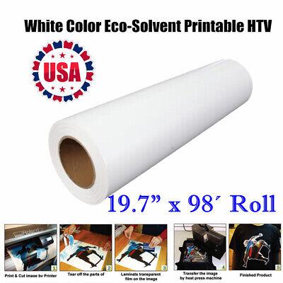 19.7x98ft Roll White Htv Eco-solvent Printable Heat Transfer Vinyl Us Stock