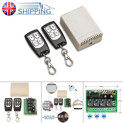 12V 4CH Channel 100M Wireless Switch Remote Control Relay Transceiver + Receiver