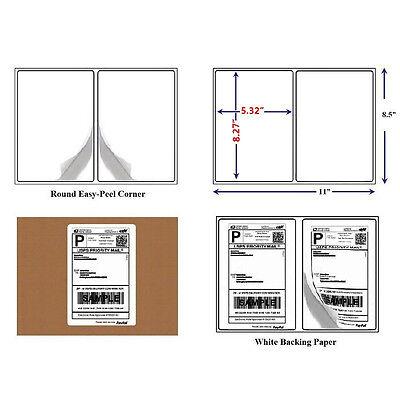 10000 Half Sheet Shipping Label 8.5x5.5 Round Corner Self Adhesive Laser Printer