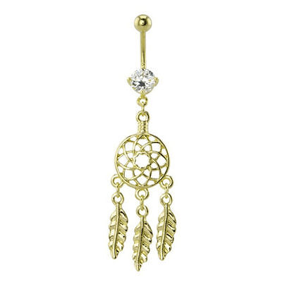 Dream Catcher Belly Button Ring 14g Surgical Steel Gold  Plating 14g Gold Plate