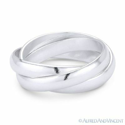 3mm Half-Dome Triple-Band .925 Sterling Silver Stackable Right-Hand Rolling (Triple Band Rolling Ring)