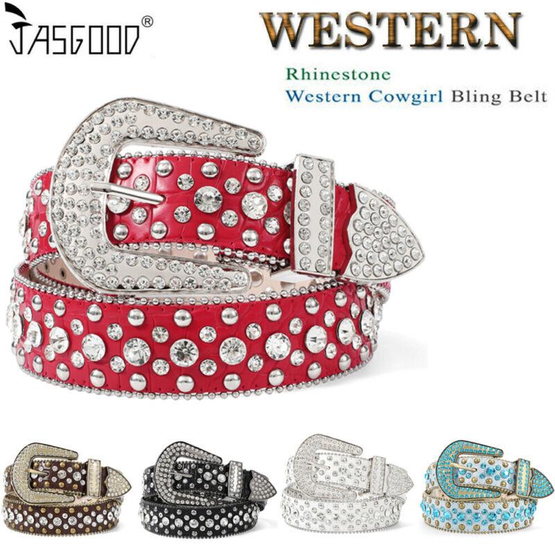 Bb Simon Rhinestone Western Leather Belt Women Studded Shiny Belts Party Wearing