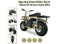 Baja Big Wheel 200cc Camo All Terrain Sand Monkey Bike Beach Dirt Pit 4 Stroke