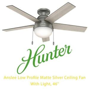 NEW Hunter Fan Company 59270 Anslee Low Profile Matte Silver Ceiling Fan With Light, 46 Condtion: New, Seals products