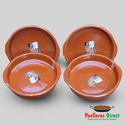 Set of 4 x 30cm Spanish Terracotta Tapas Dishes / Cazuelas