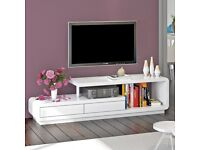 WHITE MODERN HIGH GLOSS TV STAND