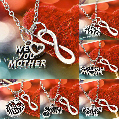 Family Infinity Charms Chain Pendant Necklace Best Friends Mother Sister Husband