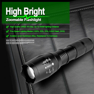 8000LM CREE T6 LED Zoomable Flashlight Waterproof Torch Hunt Light 18650 Charger