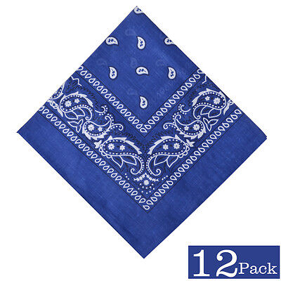 12 Pack Cotton Men Biker Cowboy Bandanas Paisley Print Scarf Headband Hair Wrap  - Cowboy Bandanas