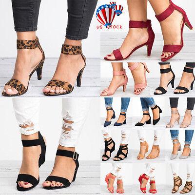 Womens Ladies Wedge Low Block Heel Black Sandals Ankle Strap Work Smart Shoes - Ladies Block Heel