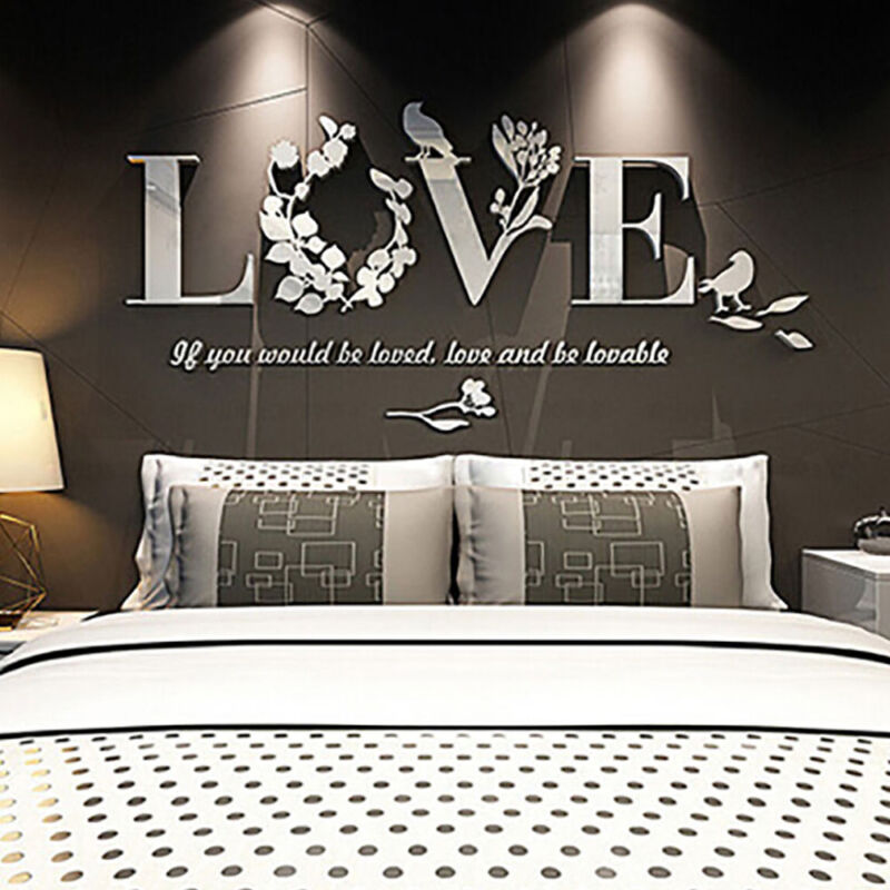 Home Decoration - Stylish Removable 3D Leaf LOVE Wall Sticker Art Vinyl Decals Bedroom Decor