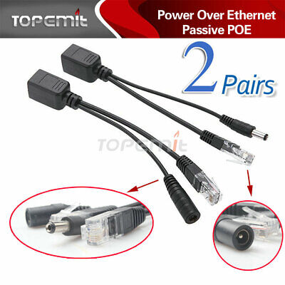 4 Pcs -ZH21 Power Over Ethernet Passive POE Injector Splitter Adapter Cable Kit