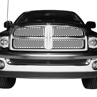 For Dodge Ram 1500 02-05 4-Pc Polished Round Punch CNC Machined Main Grille