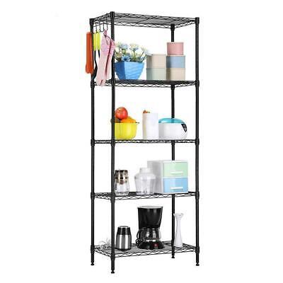 5 Tier Metal Steel Wall Free Standing Shelves Shelf Rack Storage Organizer Units