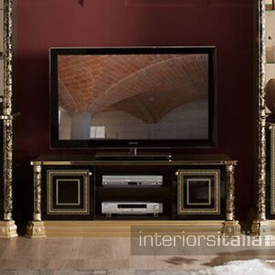 Venus Versace Style Luxury Italian 2 Door TV Unit - Black & Gold