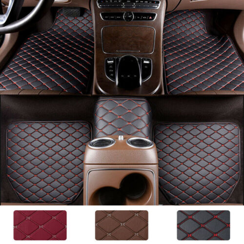 5pcs Heavy Duty Leather Floor Mat Front Rear Anti Slip for Car SUV Easy Clean US Car & Truck Parts