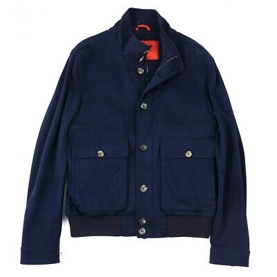 NWT Imperfect $2795 ISAIA Navy Blue Soft Jersey Cotton Bomber Jacket M (Eu 50)
