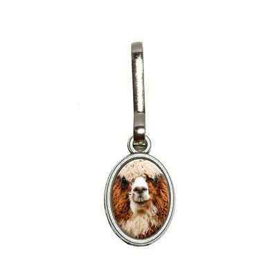 Brown Alpaca - Llama - Antiqued Oval Charm Clothes Purse Backpack Zipper -