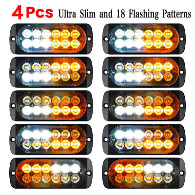 Car 12-LED Strobe Emergency Lamps Surface Mount Flashing Lights For Truck Pickup