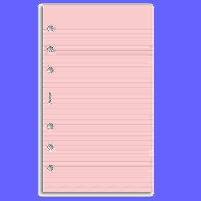 Filofax Personal Insert Pink Ruled Note Paper Refill 133007