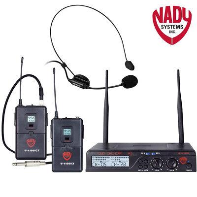 - Nady U-2100-HM-GT Dual HM 200-Channel UHF Wireless Headset Microphone System