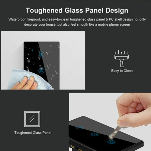 1/2/3 Gang Smart Home WiFi Light Switch Wall Touch Panel For Alexa Google Black