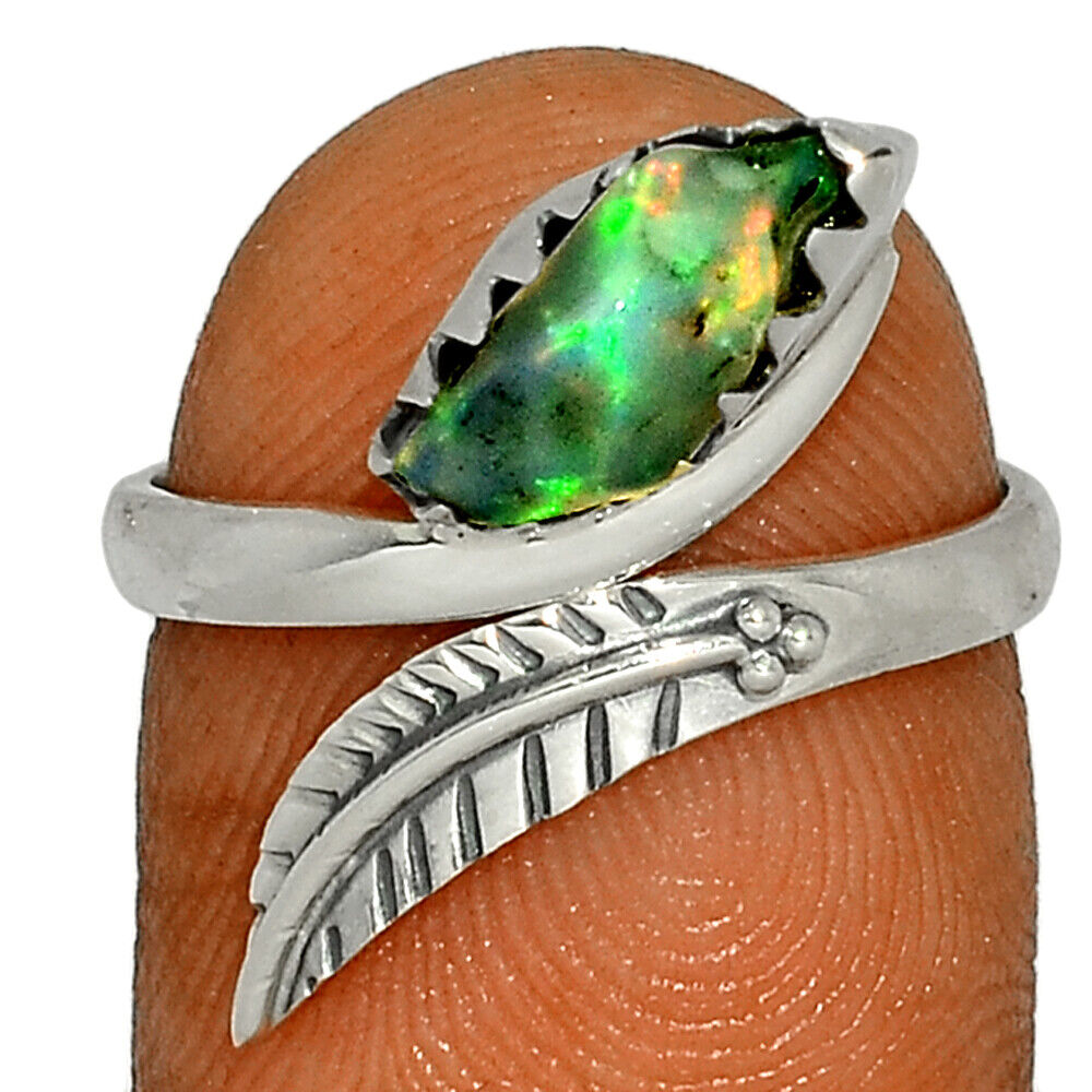 Eagle Feather - Ethiopian Opal Rough 925 Silver Ring Jewelry S.7 BR43484 - $10.99