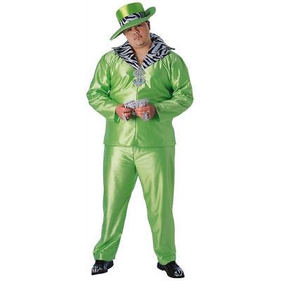 Big Daddy Halloween Costume (Big Daddy Pimp Men's Adult Suit Halloween Costume, Zebra/ Green Lime, )