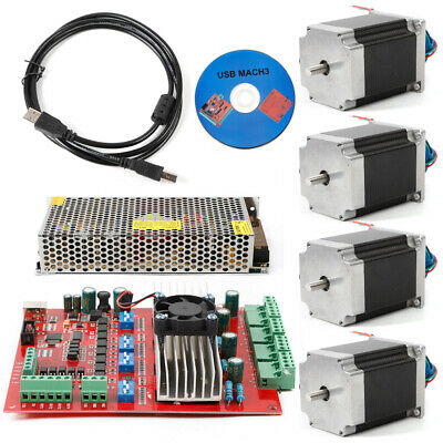Stepper Motor Kit Nema23 4axis 290oz.in 4a Usb Driver 4axis Board Supply Cnc