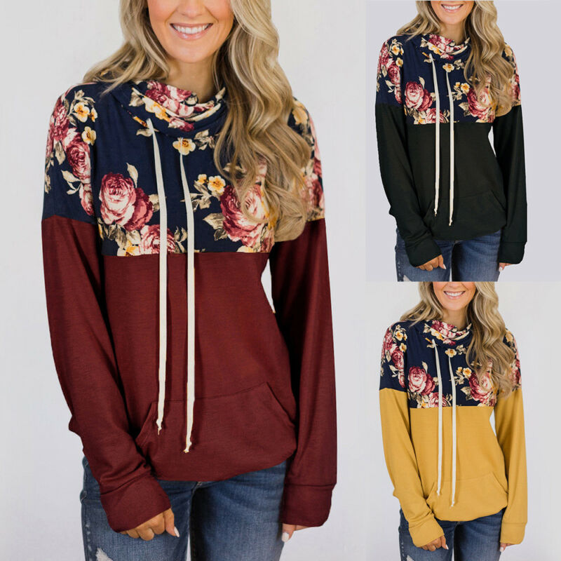Womens Hoodies Long Sleeve Pullover Sweater Floral Jumper Sw