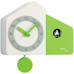 AMS Quartz Wall Clock Pendulum Clock Cuckoo Clock Wooden Housing White Green NEW