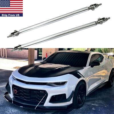Adjustable Front Bumper Lip Splitter Strut Rod Tie Support Bars For Camaro