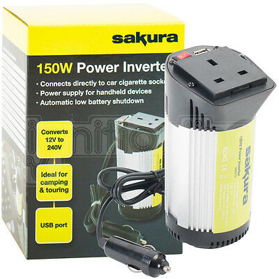 150W In Car Power Inverter Converter Charger 12v DC To 240V AC USB Port Adapter