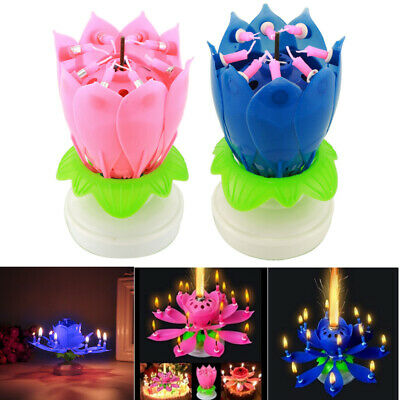 Rotating Lotus Candle Birthday Flower Musical Floral Cake Candles Music Magic US