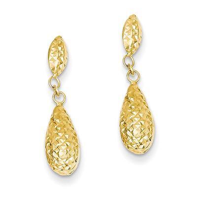 Ladies 14K Yellow Gold Polished D C Puff Teardrop Dangle Earrings 22Mm X 6Mm