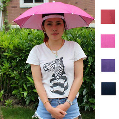 Outdoor Foldable Sun Umbrella Hat Golf Fishing Camping Headwear Cap Head Hat (Fishing Umbrella Hat)