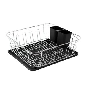 Calitek Chrome Kitchen Dish Rack Drainer with Drip Tray & Cutlery Holder