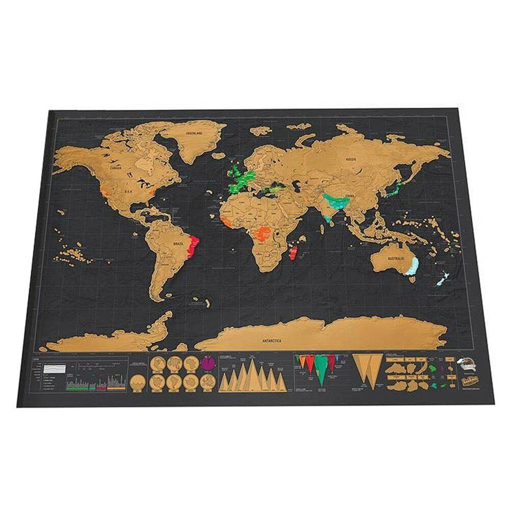 carte du monde pays visités Carte Du Monde A Gratter Voyage Pays Visités Affiche Mappemonde